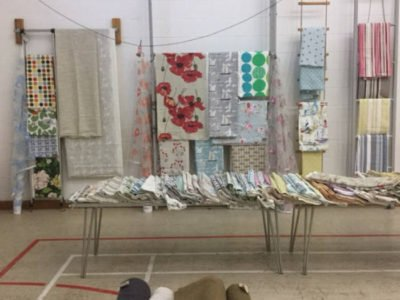 Fabrics Stalls and fabric remnants in Village Halls in Devon